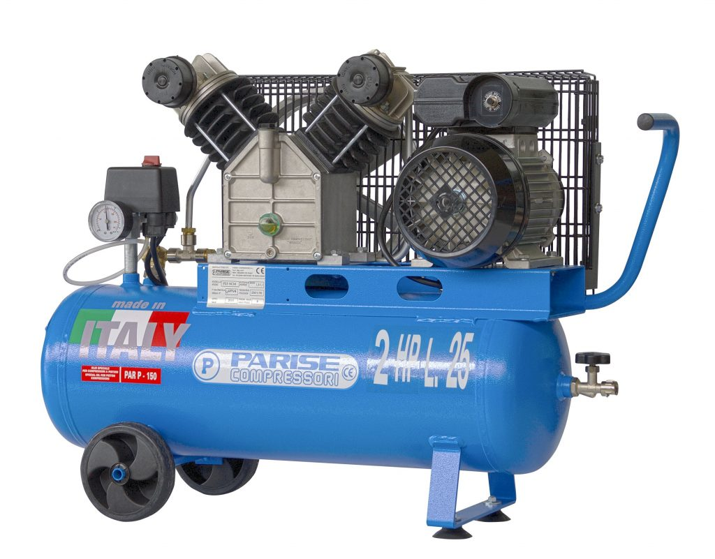 Portable belt-driven two cylinder air compressor