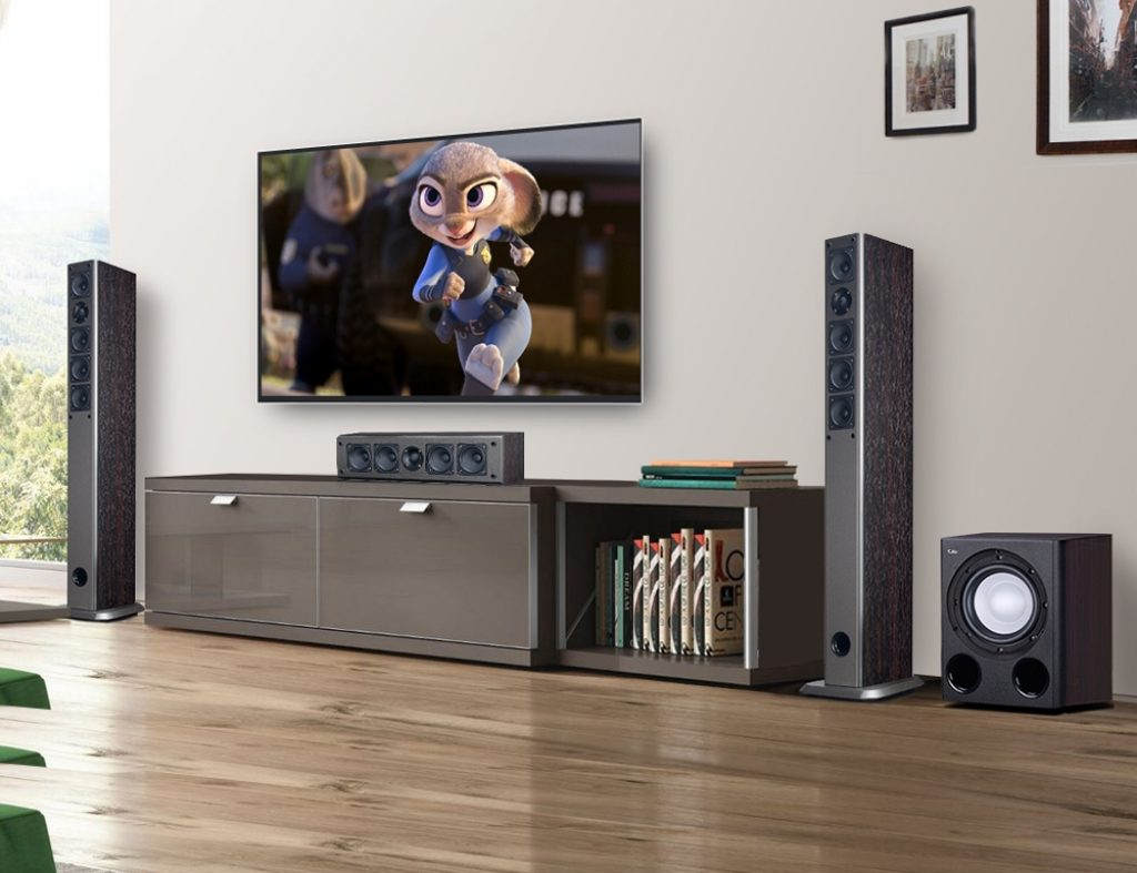 Home theater system with a surround sound