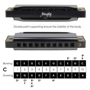 Mugig Diatonic Harmonica Standard 10 Hole Harmonica with Case Key of C 3 300x300 image