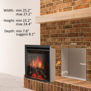 PuraFlame 26 inches Western Electric Fireplace Insert with Remote Control, 750 1500W_5