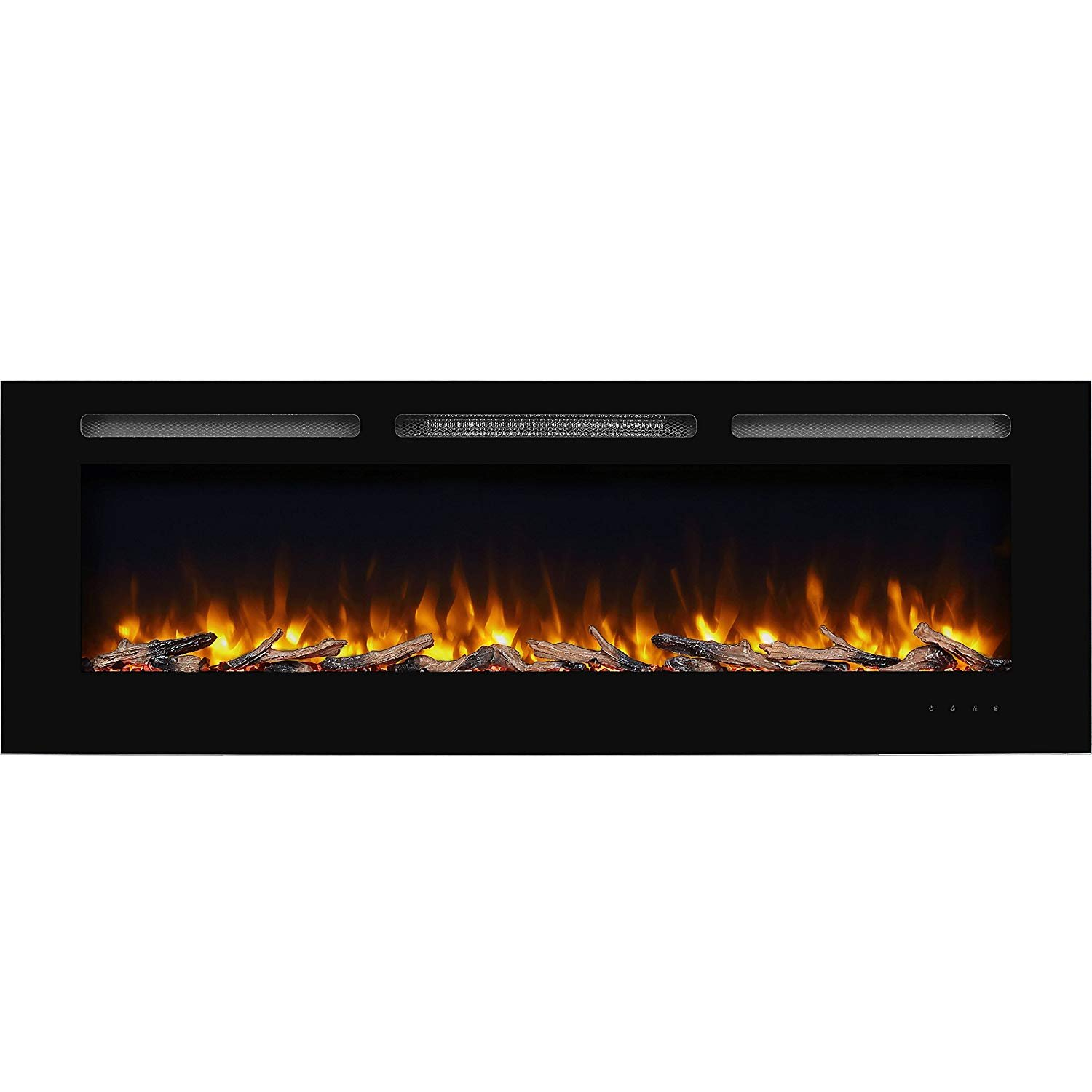 PuraFlame Alice 40 inches Recessed Electric Fireplace, Wall Mounted for 2 X 6 Stud, Log set and Crystal, 1500W heater_1