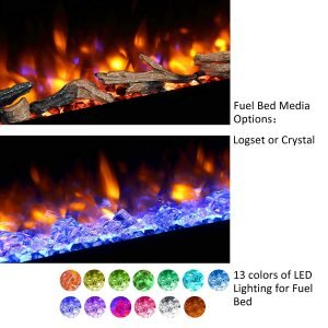 PuraFlame Alice 40 inches Recessed Electric Fireplace, Wall Mounted for 2 X 6 Stud, Log set and Crystal, 1500W heater_3