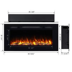 PuraFlame Alice 40 inches Recessed Electric Fireplace, Wall Mounted for 2 X 6 Stud, Log set and Crystal, 1500W heater_6