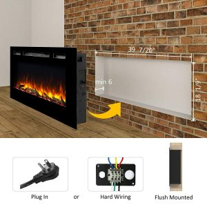 PuraFlame Alice 40 inches Recessed Electric Fireplace, Wall Mounted for 2 X 6 Stud, Log set and Crystal, 1500W heater_7