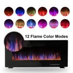 R.W.FLAME 42 inches Electric Fireplace,Wall Mounted & In-wall Recessed Electric Heater,Remote Control, Adjustable Flame Speed, 750-1500W_2