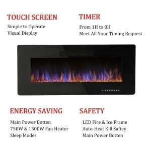 R.W.FLAME 42 inches Electric Fireplace,Wall Mounted & In-wall Recessed Electric Heater,Remote Control, Adjustable Flame Speed, 750-1500W_3