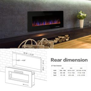 R.W.FLAME 42 inches Electric Fireplace,Wall Mounted & In-wall Recessed Electric Heater,Remote Control, Adjustable Flame Speed, 750-1500W_4