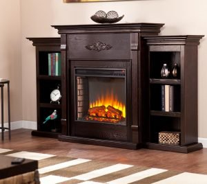 Southern Enterprises Tennyson Electric Fireplace with Bookcase espresso_1