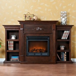 Southern Enterprises Tennyson Electric Fireplace with Bookcase espresso_2