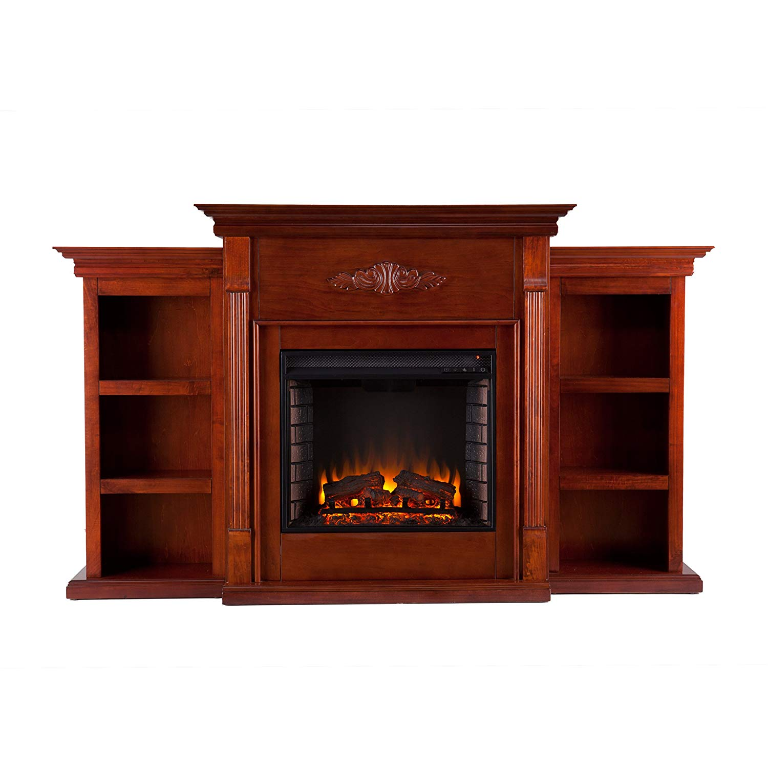 Southern Enterprises Tennyson Electric Fireplace with Bookcase espresso_3