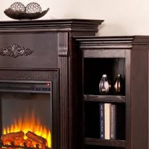 Southern Enterprises Tennyson Electric Fireplace with Bookcase espresso_4