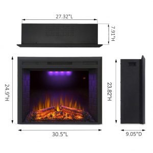 Valuxhome Houselux 30 inches 750W 1500W, Embedded Fireplace Electric Insert Heater, Fire Crackler Sound_2