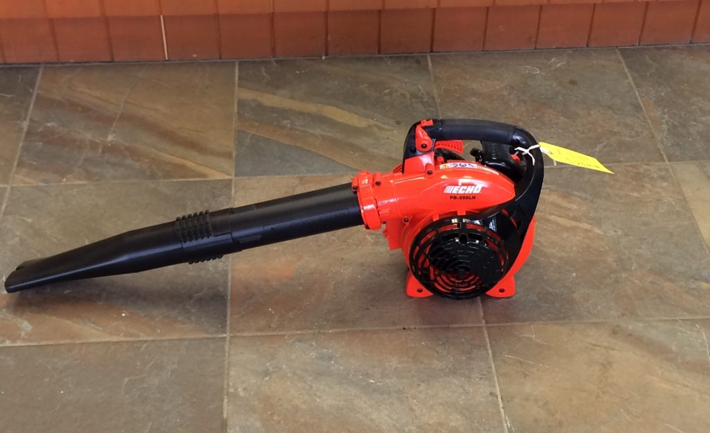 Leaf blower on a hard surface