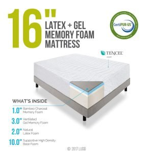 LUCID 16 Inch Plush Gel Memory Foam and Latex Mattress_4