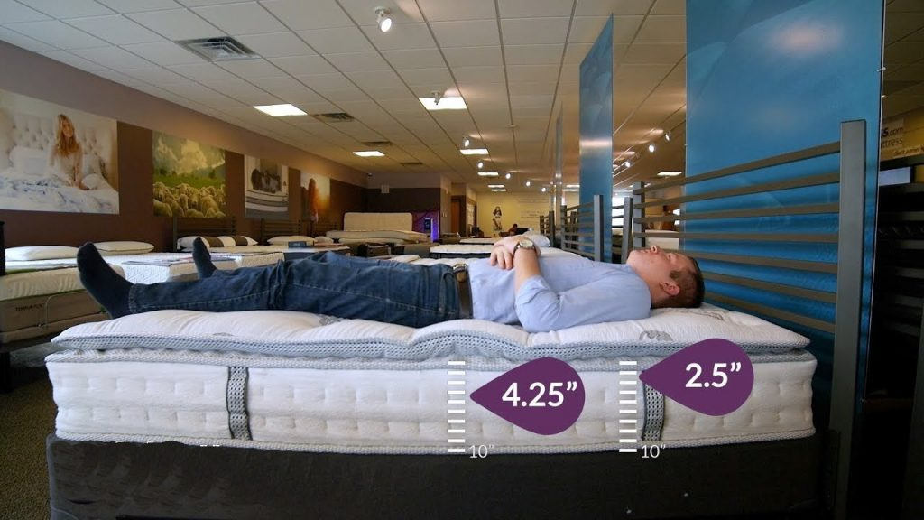 The man is lying on the mattress