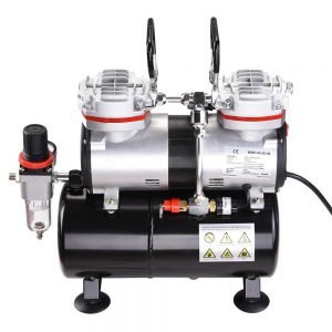 AW Pro Twin Cylinder Airbrush Compressor 2 300x300 image