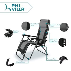 PHI VILLA Padded Zero Gravity Lounge Chair-1