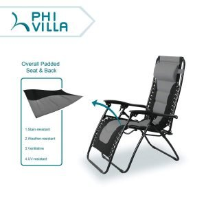 PHI VILLA Padded Zero Gravity Lounge Chair-2