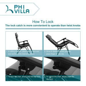 PHI VILLA Padded Zero Gravity Lounge Chair-3
