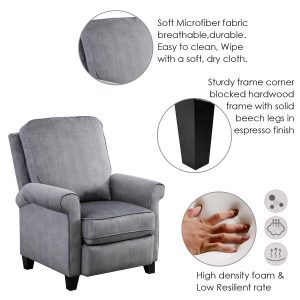 BONZY Roll Arm Push Back Recliner 3 300x300 image