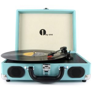 1byone Belt-Drive Portable Stereo Turntable