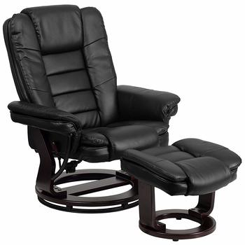 Flash Furniture Contemporary Black Leather Recliner and Ottoman