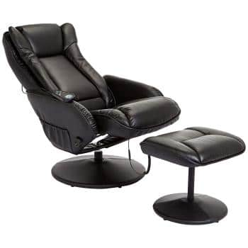 JC Home Drammen Massaging Leather Recliner and Ottoman